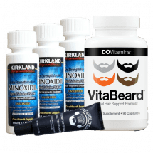Комплекс для роста бороды Minoxidil Kirkland, гель Beardilizer и витамины VitaBeard на 3 месяца
