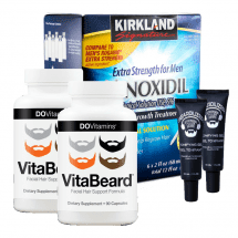 Комплекс для роста бороды Minoxidil Kirkland, гель Beardilizer и витамины VitaBeard на 6 месяцев