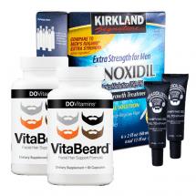 Комплекс для роста бороды Minoxidil Kirkland, гель Beardilizer и витамины VitaBeard на 6 месяцев