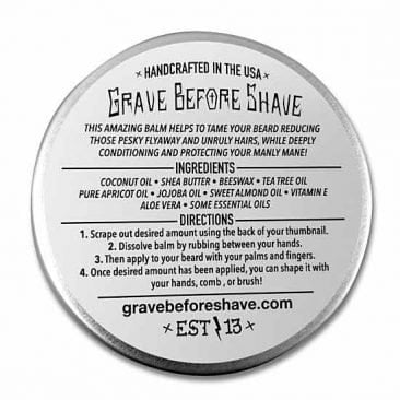 Бальзам для бороды Grave before shave вид сзади